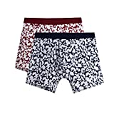 SANQIANG Mens' No Ride up Printed Boxer Briefs Breathable Organic Cotton Underwear (XL, 2-Pack)