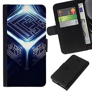 KLONGSHOP // Tirón de la caja Cartera de cuero con ranuras para tarjetas - Resumen Cubo - LG OPTIMUS L90 //
