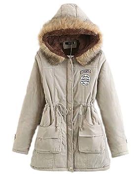 Women Jacket Home Abrigos para Mujer con Capucha Abrigos cálidos con Chaquetas de Piel sintética (Color : Khaki, Size : XXL): Amazon.es: Hogar