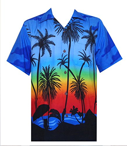 Hawaiian Shirt 42 Mens Allover Coconut Tree Beach Aloha Party Dark Blue 2XL