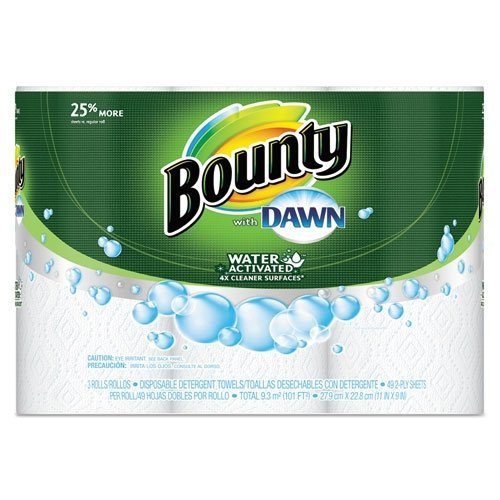 "Price comparison product image Bounty PGC92379CT Paper Towels with Dawn, 2-Ply, 11"" x 14"", 49 Per Roll, 3 Pack"