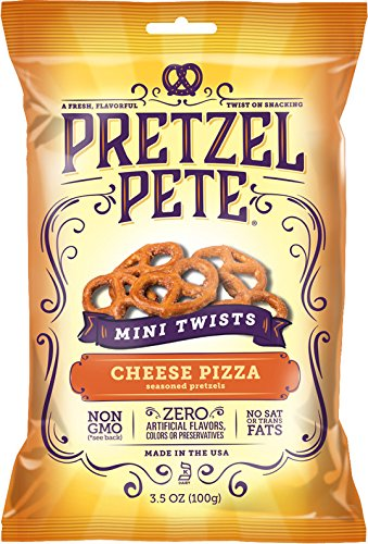 Pretzel Pete Seasoned Mini Twist Pretzels, Cheese Pizza, 3.5 Ounce Bag (Pack of 6)