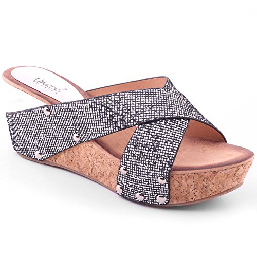 Unze Womens 'Rish' Wedge Glittering Prom Shoes - 5D0720-23F
