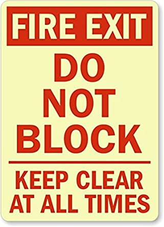 "Fire Exit Do Not Block Keep Clear At All Times (vertical) Sign, 14"" x 10"": Industrial Warning"