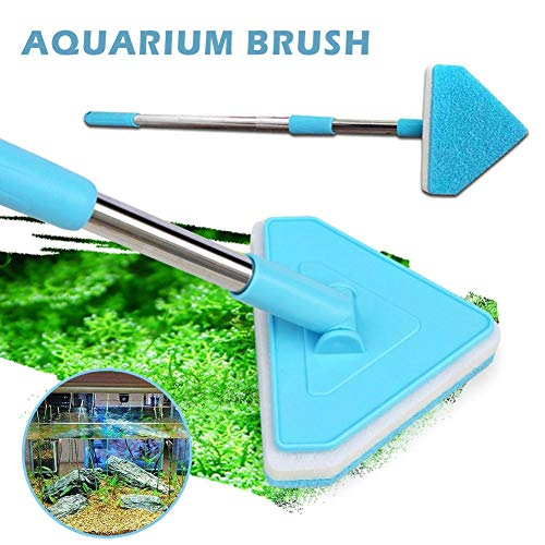(Wind-Susu Aquarium Fish Tank Brush, Sponge Cleaning Brush, Triangle Brush with Retractable Long Handle for Cleaning Glass)