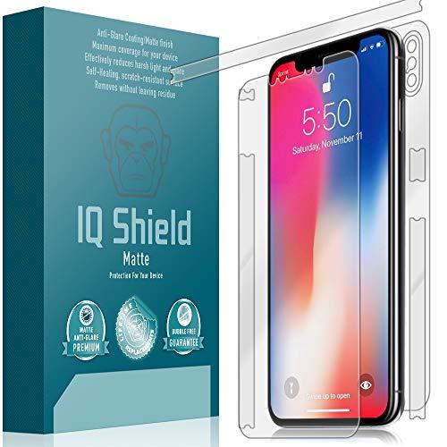 IQ Shield Matte Full Body Skin Compatible with Apple iPhone Xs Max (6.5 inch) + Anti-Glare (Full Coverage) Screen Protector and Anti-Bubble Film