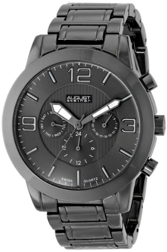 August Steiner Men's AS8106BK Swiss Quartz Multifunction Black Dial Gun Bracelet Watch