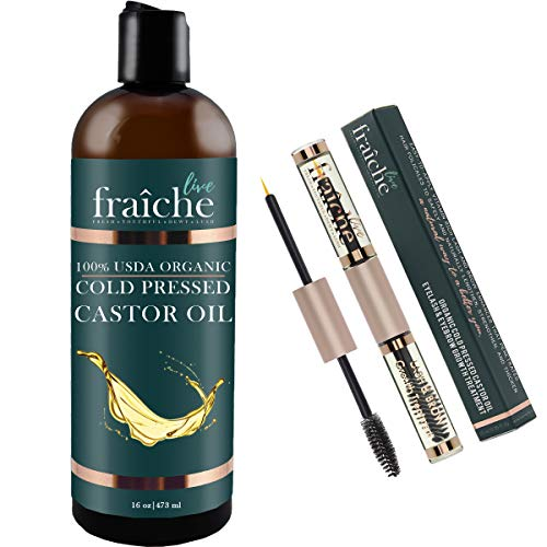 ((VALUE PACK:16oz Bottle + 10ml Double Ended Eyeliner Mascara Tube) USDA Organic Castor Oil for Eyelashes and Eyebrows Hair Growth, Dry Skin - Cold Pressed Caster Oil Hair Growth Scalp Deep Conditioner)