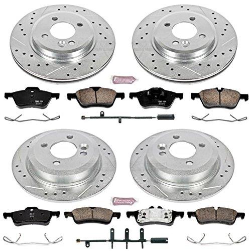 Power Stop K5725 Front & Rear Brake Kit with Drilled/Slotted Brake Rotors and Z23 Evolution Ceramic Brake Pads