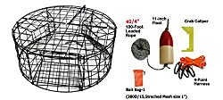 "Kufa Vinyl Coated Round Crab Trap & Accessory Kit, 14""x100' Lead Core Rope, Clipper, Bait Case & 11"" Float"