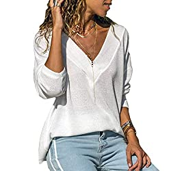 Women S Casual Tops Long Sleeve V Neck T Shirts Loose Pullover Sweater White L