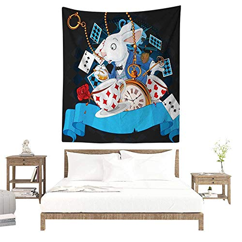 alisoso Tapestries for Sale,Alice in Wonderland Decorations,Rabbit Amazing with Motion Cups Hearts Rose Flower Character Alice Cartoon,Multi W47 x L47 inch Wall Decoration Tapestry Beach -