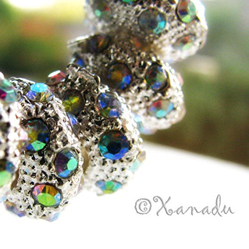 2PCs Aurora Borealis AB Finish Crystal Charm Beads For European Charm Bracelets Jewelry Making Supply Pendant Bracelet DIY Crafting by Wholesale (Aurora Borealis Glass Necklace)