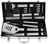 grilljoy 19pcs BBQ Grill Tools Set, Stainless Steel BBQ Accessories in Aluminum Storage Case, Complete Outdoor Grilling Barbecue Utensils, Prefect Birthday Gift for Men
