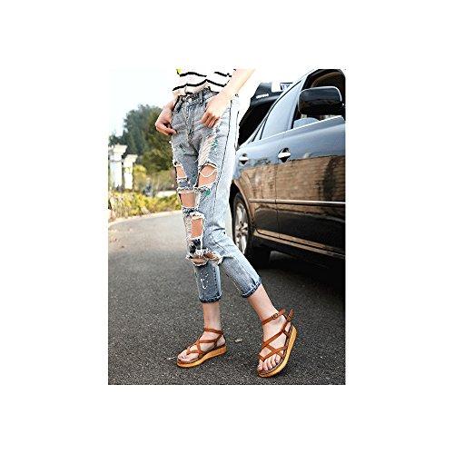 Sandali Aperto Caviglia Moda Espadrillas Marrone Piattaforma Scarpe Donna Di Da 11 q01IIE