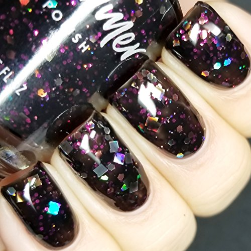 Showgirl Black and Fuchsia Pink Glitter Nail Polish - 0.5 Oz Full Sized Bottle]()