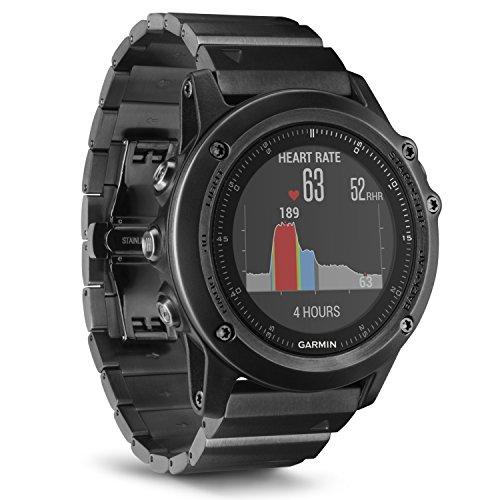 Garmin Fēnix 3 Sapphire Gray HR - Montre GPS Multisports Outdoor Cardio Poignet - Bracelet Noir Métal Gris