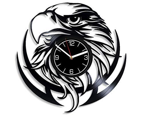 Kovides Nature Decoration 12 inch Wall Clock Bird Art Bald Eagle Vinyl Record Wall Clock Birthday Gift for Man Eagle Wall Art Nature Wall Clock Exclusive Bird Xmas Gift for Boy Nature Vinyl Clock