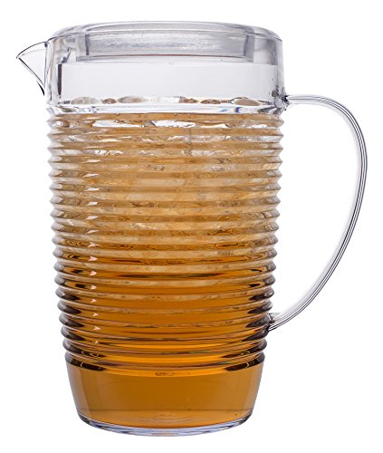 Break Resistant Clear Plastic Pitcher with Lid for Iced Tea, Sangria, Lemonade (81 fl oz. / 2.5 quarts)