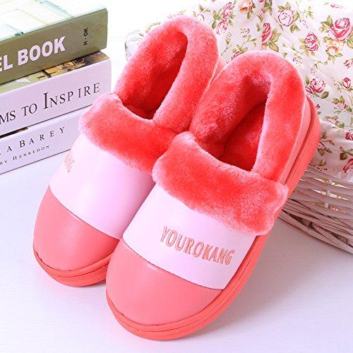 Y-hui En Invierno Hombres Zapatillas De Algodón Con Todos Los Zapatos De Las Mujeres Muebles De Casa Pu Impermeable Par De Zapatos De Fondo Grueso Cálido, 40-41 Metros, Sandía Roja