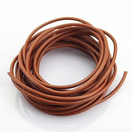 1.5 mm Genuine Round Leather Cord Braiding String Dark Brown Espresso 10 Meters TM 10 Yards LolliBeads