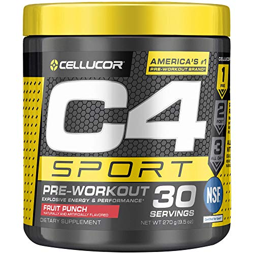 Cellucor C4 Sport Pre Workout Powder Sports Hydration & Energy Drink Supplement with Creatine Monohydrate & Beta Alanine, Fruit Punch, 30 Servings