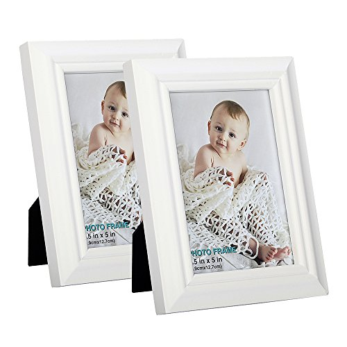 Finished Frame Set (3.5x5 inch Picture Frame ( set of 2) Made of Solid Wood High Definition Glass for Table Top Display and Wall mounting photo frame White)