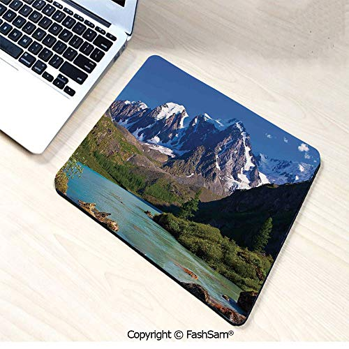 Personalized 3D Mouse Pad Snowy Mountaintops Bustling River Pine Trees Rocks Grass Clouds Shrubs for Laptop Desktop(W9.85xL11.8)