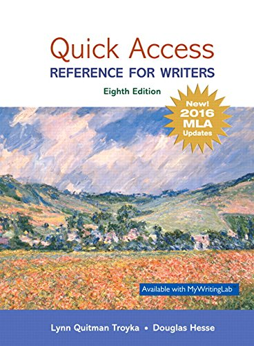 Quick Access: Reference for Writers, MLA Update