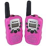 DOLIROX Kids Children Mini Hand Held Walkie Talkie Set Wireless 2-Way Radio Intercom Interphone with LCD Display and LED Flashing Light pack of 2 (Pink)