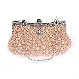 EROUGE Womens Pearl Bead Rhinestone Clutch Fashion Evening Clutch Purse with Chain (Champagne)