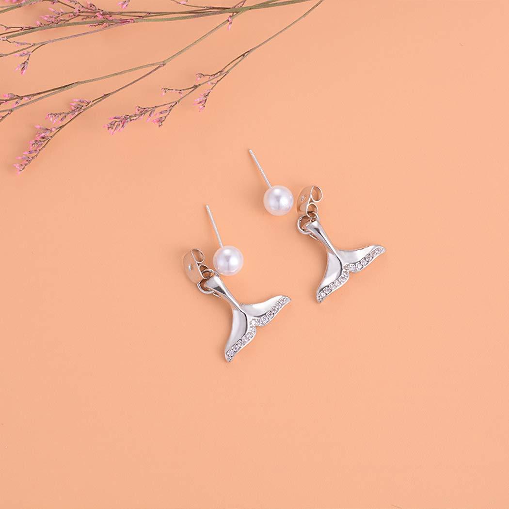 Women Girls Jewelry Silver Mermaid Tail Earrings Tiny Pearl Post Stud Hypoallergenic Drop Dangle Earrings