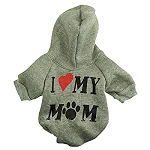 "Ollypet Winter/ Fall Collection Grey Hoodie ""I Love My Mom"" Sweater for Small Dogs S"