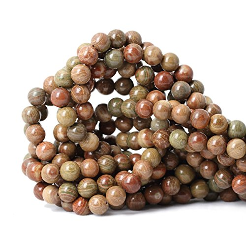 Qiwan 45PCS 8mm Natural Colorful Texture Jade Gemstone Round Loose Beads for Jewelry Making Handmade Materials 1 Strand 15