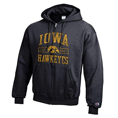 Champion NCAA Iowa Hawkeyes Men's Men's Full Coverage Zip Hoodie, Large, Black (Hoodie Iowa Hawkeyes)