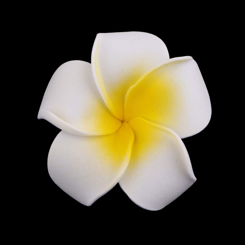 4cm Blanc non-brand Baoblaze 50pcs Fleur Artificiel en EVA Plumeria Hawa/ïen pour D/écoration de F/ête Pince /à Cheveux Bricolage