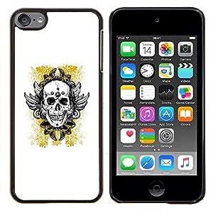 Jordan Colourful Shop - YELLOW GOLD BIKER INK TATTOO SKULL For Apple iPod Touch 6 6th Generation - < Personalizado negro cubierta de la caja de pl????stico > -
