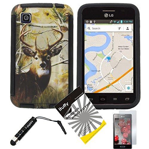 3 items Combo: ITUFFY (TM) LCD Screen Protector Film + Mini Stylus Pen + Design Wrap-Up Cover Faceplate Skin Phone Case for LG Optimus Dynamic II LG39C L39C (Net 10, StraightTalk, Tracfone) (Deer Tree - Black)