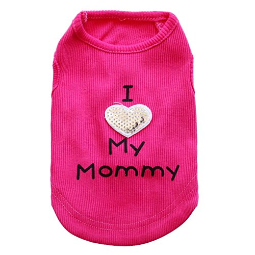 Petall Dog Shirts I Love My Mom/Mommy Dad/Daddy Clothes Doggy Slogan Costume Cute Heart Vest for Small Dogs Puppy T-Shirt ()