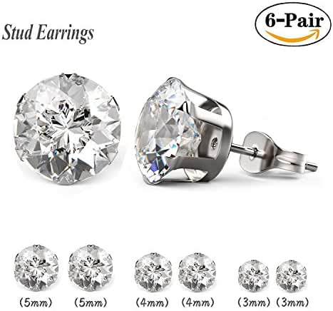 Besjewel Crystal Stud Earrings 3mm-5mm Surgical Stainless Steel Hypoallergenic Earrings, 6 pairs