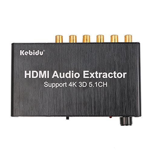 KEBIDU HDMI Audio Extractor Separator 5.1CH 4kX2k Decoding Coaxial to RCA AC3 / DST to 5.1 Amplifier Analog Converter Support 3D 4K PS4 DVD Player