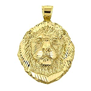 Solid 14k Yellow Gold Leo Zodiac Sign Charm King Lion Pendant by Claddagh Gold