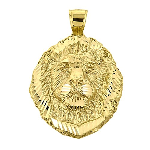 Solid 14k Yellow Gold Leo Zodiac Sign Charm King Lion Pendant
