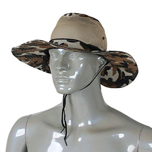 SODIAL(R) Men Wide Full Brim Brown Black Camouflage Mesh Design Fishing Hiking Hat Cap