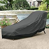 North East Harbor NEH Outdoor Patio Chaise Lounge Chair Cover 66'' Length Dark Grey with Black Hem - 100% Waterproof Winter Storage Cover Deck Patio Backyard Veranda Porch Chair Covers