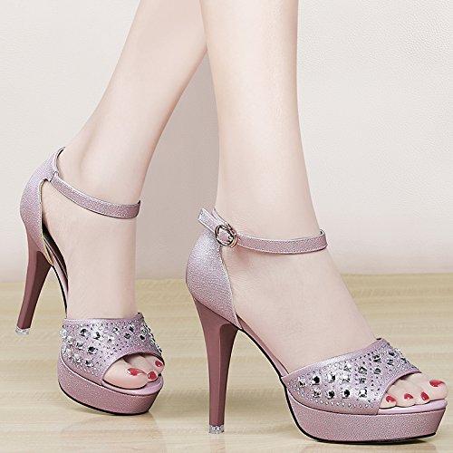 Jqdyl High Heels Neue einfache hohe Sommer wasserdichte Plattform mit feinen Heel Sandaletten  38|Pink