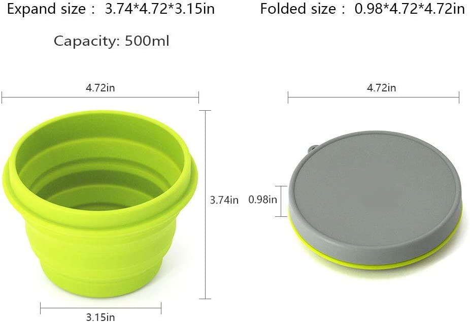 Office Space-Saving Hiking and Indoor Home Kitchen Yellow-500ml Food-Grade Travel LAOPAO Collapsible Silicone Bowl with Lid 500ML 1000ML for Outdoor Camping School Student