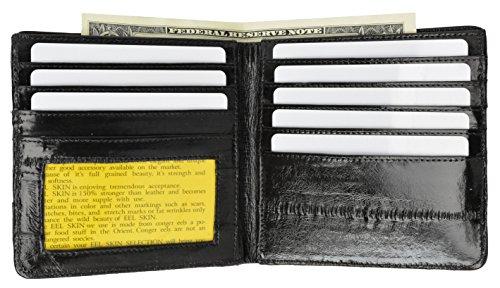 Black Eel (EEl Skin Bi-fold Mens Hipster Wallet #E711 (Black))