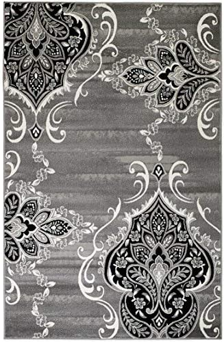 Summit New Elite ST52 Royal Damask Boroque Vintage Look Area Rug Grey White Black Many Sizes Available 5 x 7 Actual Is 4'.10'' x 7'.2''
