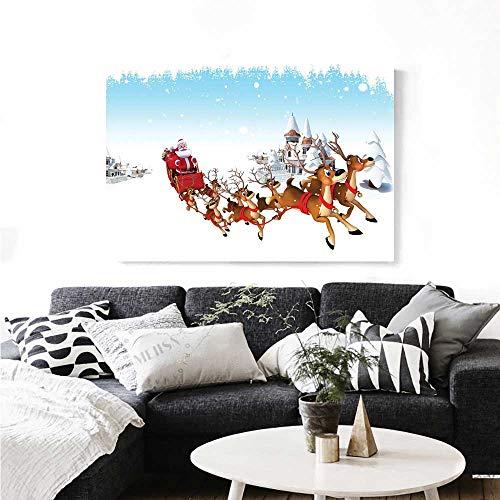 Warm Family Santa Canvas Wall Art Christmas Ride on a Sleigh Cartoon Deer with Jingle Bells Winter Time Artwork for Wall Decor 24
